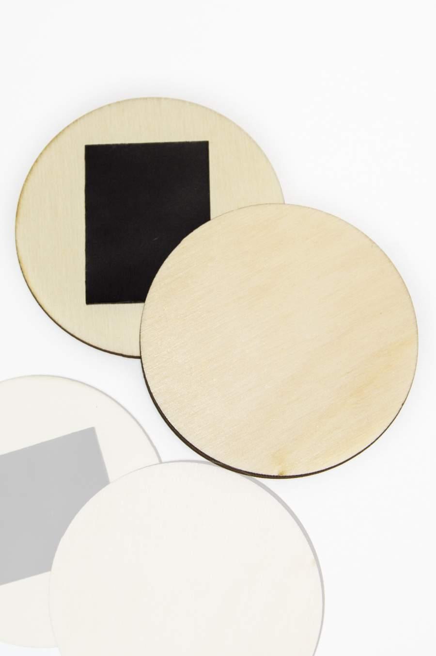 101. Placă din lemn pentru magnet frigider, felie rotundă Ø80mm